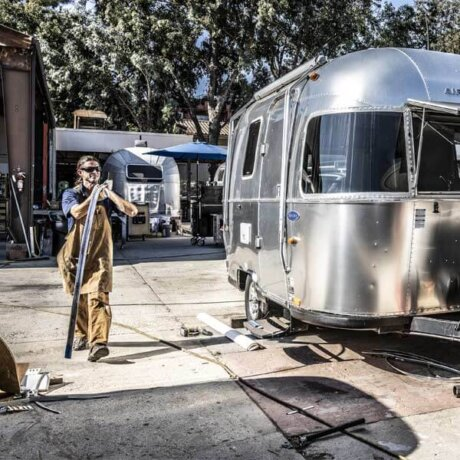 Hard at work bringing out that Airstream shine. Getting into gear to get to polishing.