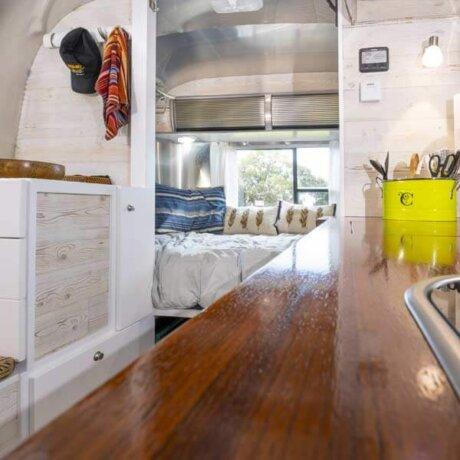 Natural wood countertop for Airstream Interior