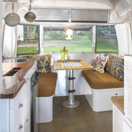 Airstream dining area, comfortable, compact, and clean