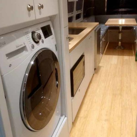 Interior with washer/dryer and bamboo flooring
