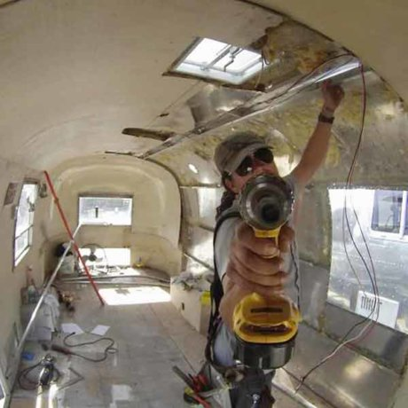 Maxwell Torres - working an Airstream interior