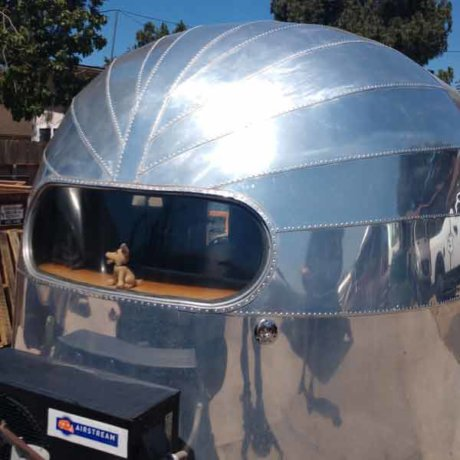Vintage Airstream, old Curtiss Wright style, with classic end caps.