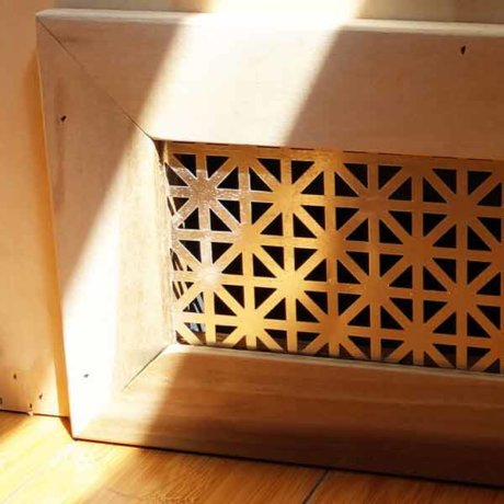 This is a custom vent for the furnace of a 1968 Tradewind Airstream with hardwood flooring.